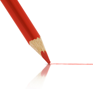 red pencil marking a page